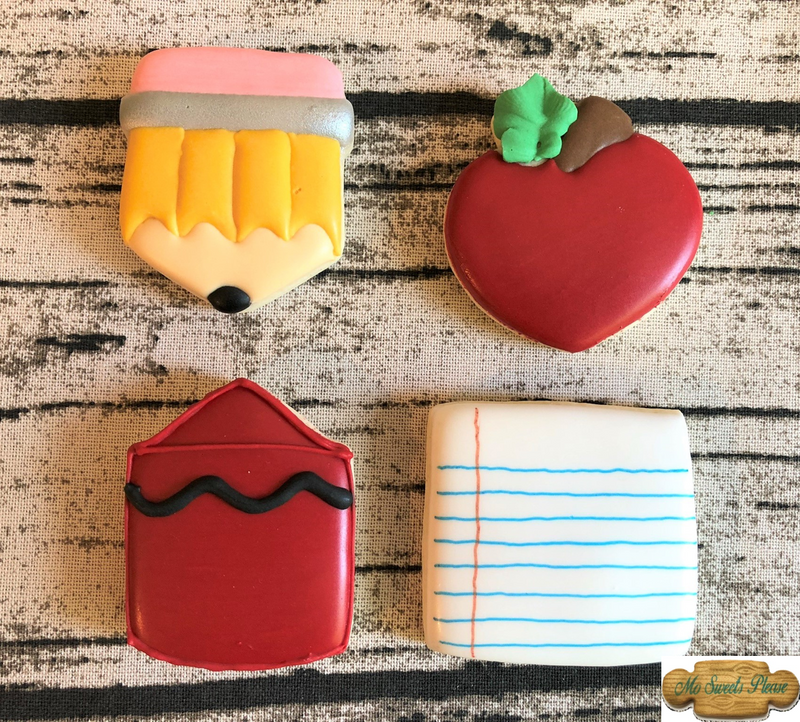 Pencil Apple Crayon Paper Decorated Sugar Cookies