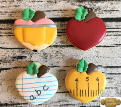 Heart Apple Pencil Paper Ruler Decorated Sugar Cookie