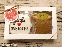 Decorated Sugar Cookie Baby Yoda Valentine
