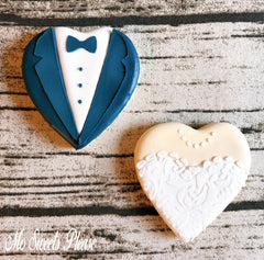 Decorated Sugar Cookie Wedding Bride Groom Heart