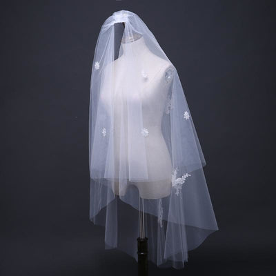 Medium Length Veil with Minimal Lace Detail