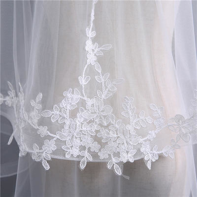 Shoulder-length Veil with Minimal Lace Detail