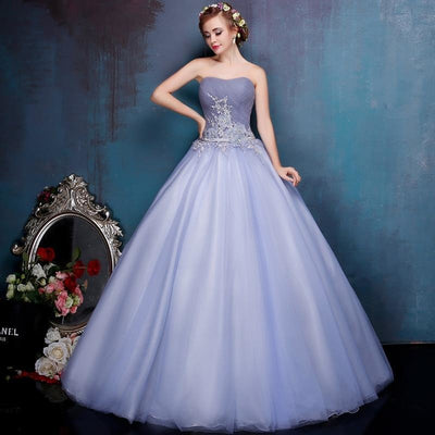 Blue Gown with Floral Appliques
