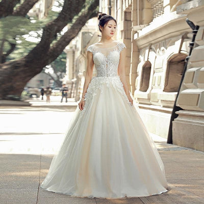 Cap Sleeve Gown with Illusion Neckline
