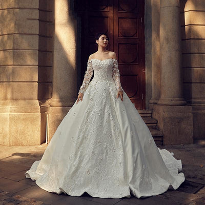 Lace Sleeved Sweetheart Gown