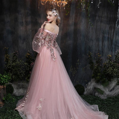 Off-Shoulder Pink Bell Sleeve Gown