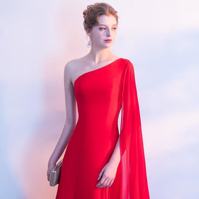 Red One-Shoulder Gown