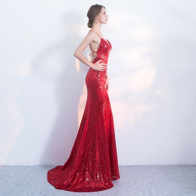 Red Sequin Spaghetti Strap Gown