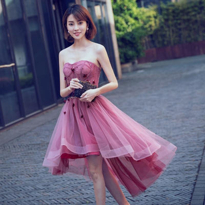 Short Pink Floral High-Low Dress