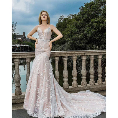 Spaghetti Strap Nude Mermaid Gown