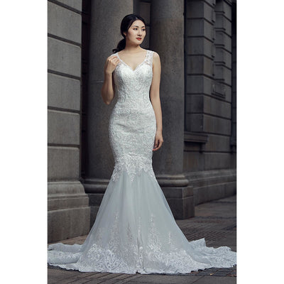 V-Neck White Mermaid Gown