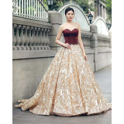Burgundy and Gold Formal Gown