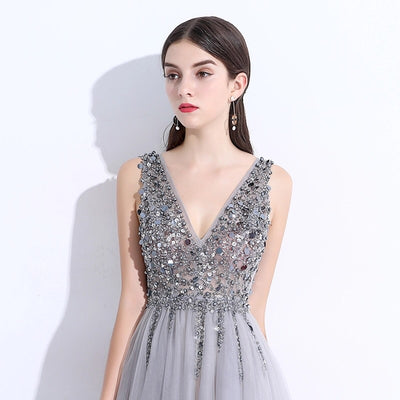 Silver Pearl Beaded Gown