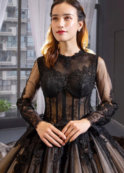 Black Lace Gown with Sleeves