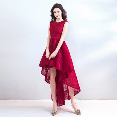 Red Embroidered High Low Dress