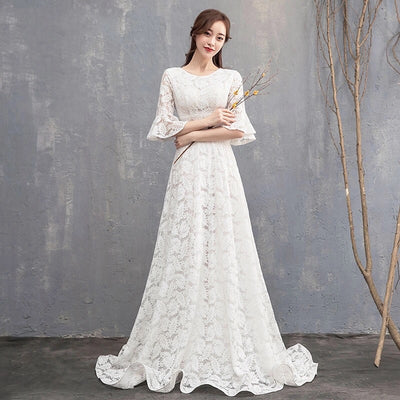 White Lace Bell Sleeved Gown