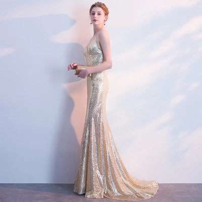 Gold Sequin Spaghetti Strap Gown