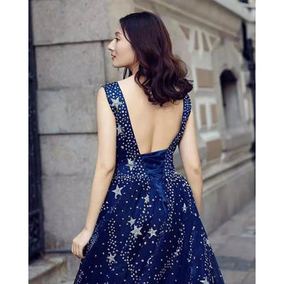Star Patterned Navy Blue Gown