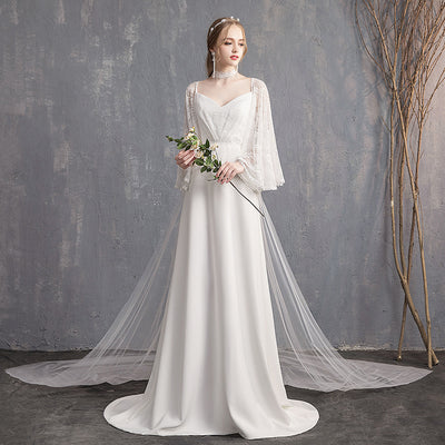White Gown with Built-In Shawl