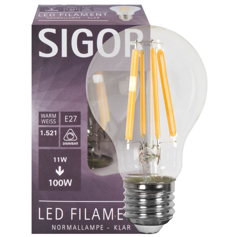 LED-Filament-Lampe klar E27/240V/11W dimmbar
