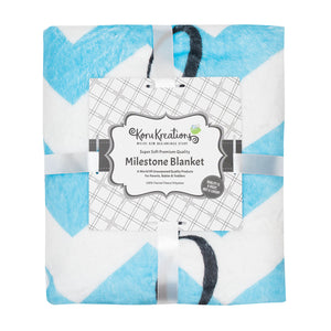 "Baby Monthly Milestone Blanket 100% Quality Fleece Large ""60x40"" Bonus Felt Rings"
