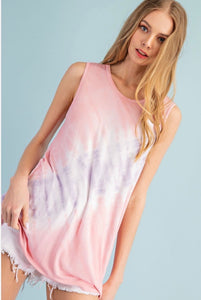 Jersey Tie Dye Sleeveless Top in Pink & Lavender