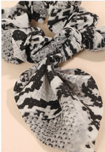 Load image into Gallery viewer, Snakeskin bunny ear scrunchies