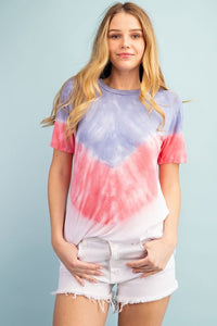 Riley Tie Dye T-Shirt in Blue and Red
