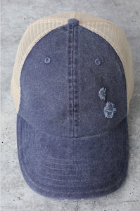 Distressed Denim Adjustable Hat
