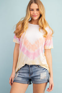 Riley Tie Dye T-Shirt in Peach & Pink