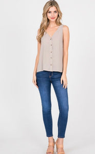 Abby button front tank in MARIGOLD (taupe photo for styling only)