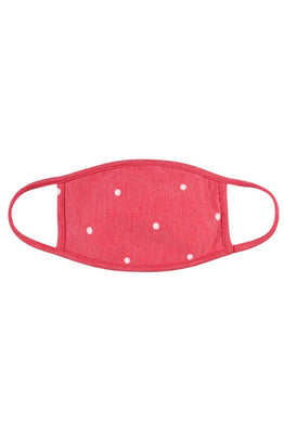 KIDS Reusable red Face Mask with white polka dots
