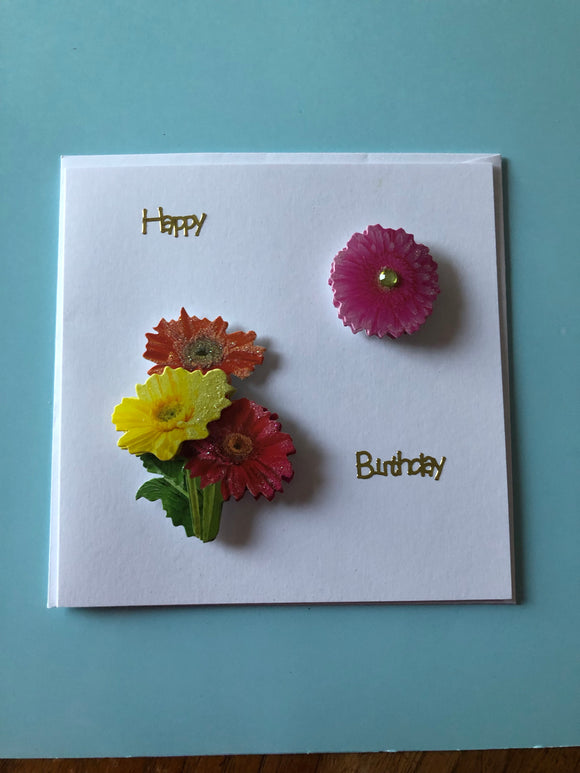Flower themed birthday card