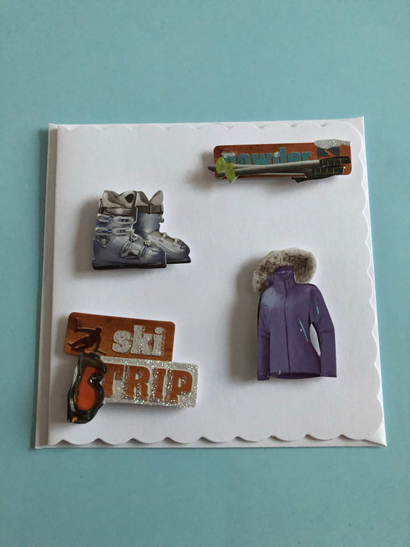 Men's Birthday skiing card
