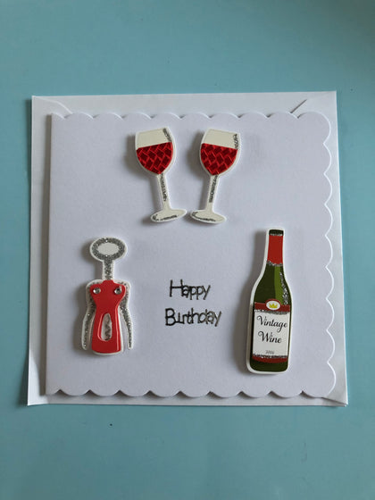Red wine themed Birthday card