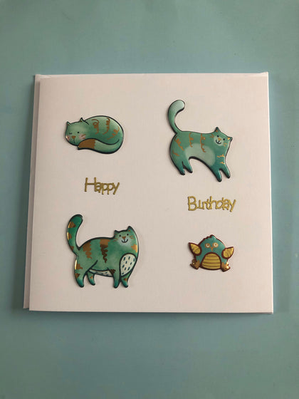 Green cat themed Birthday card