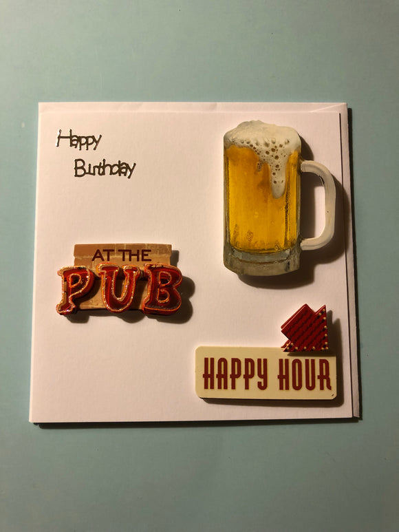 Men's pub themed birthday card