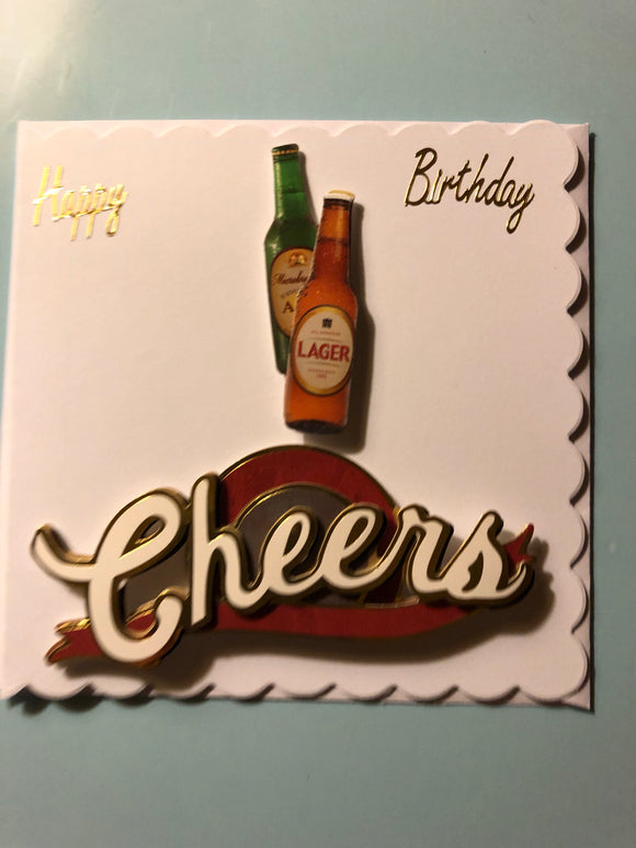Men's double beer bottle birthday card
