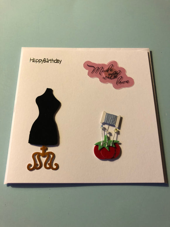 Women's sewing birthday card