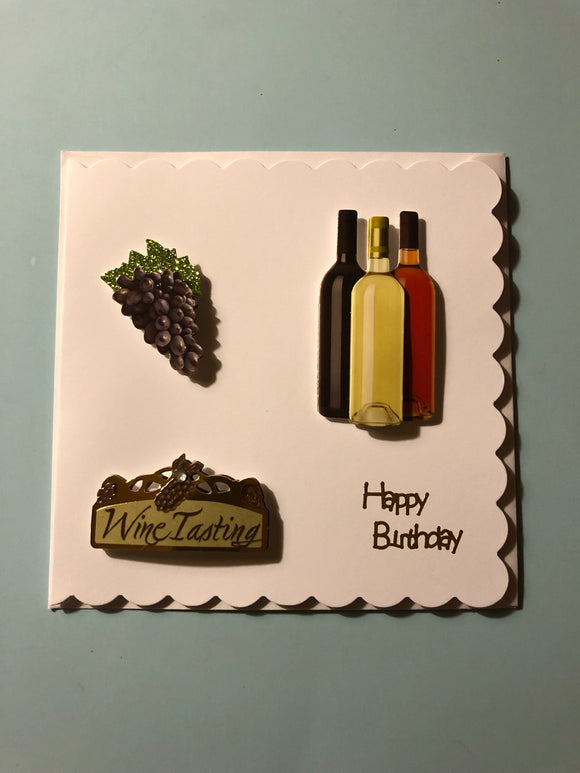 Men's wine and grape Birthday Card