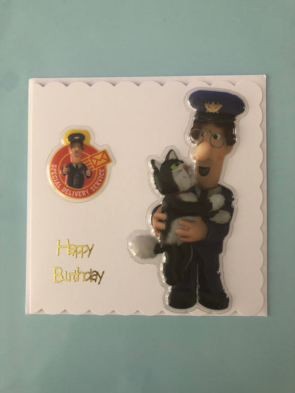 Postman Pat themed birthday card with Jess