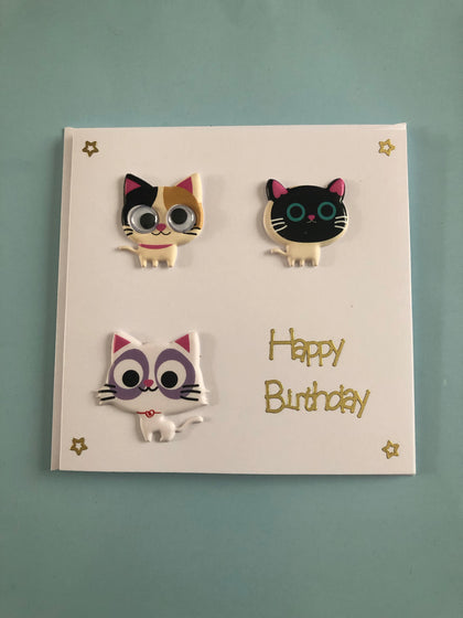 3D cat themed birthday card