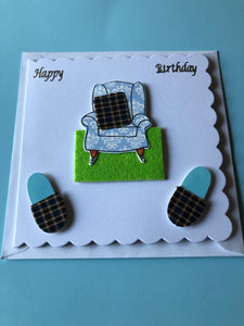 Men's birthday card with armchair