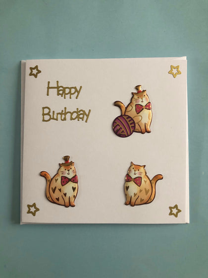 Gold coloured cat birthday card