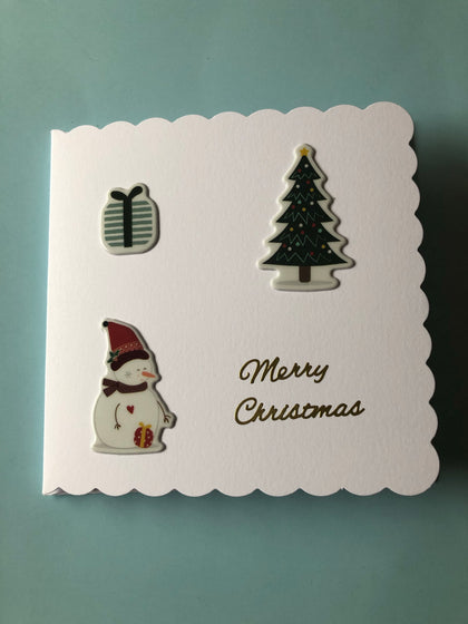 Christmas card with tree and snowman