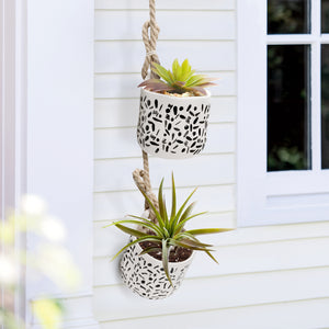 "4.6"" Hanging Flower Plants Pots with Rope, Set of 2"