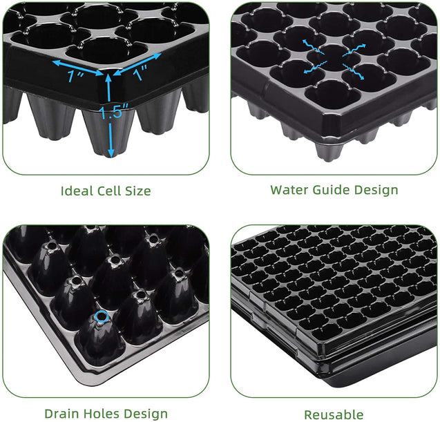 10 Pack of 200 Cell Seedling Trays with Drain Holes, 2000 Cells
