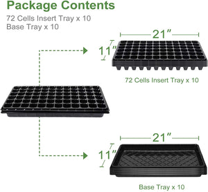 10 Pack Seed Starter Tray Kit, 720 Cells