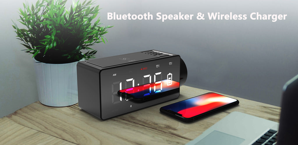 ROBOQI Bluetooth Speaker with Wireless Charging DIY Alarm Clock Projector