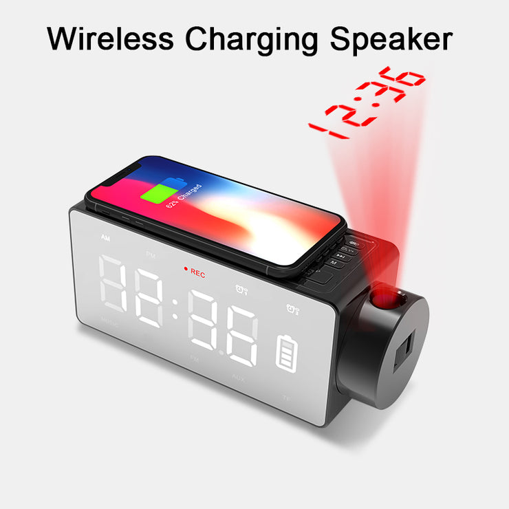 ROBOQI® Wireless Charging Bluetooth Speaker with Projector - InvisibleTech